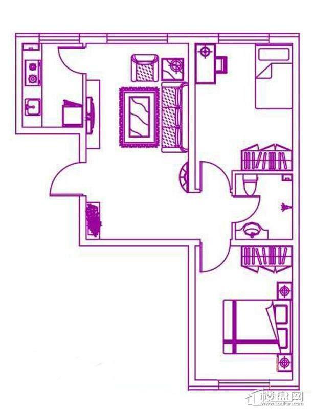 观筑 锦绣华城户型图H-c户型图2室1厅1卫1厨