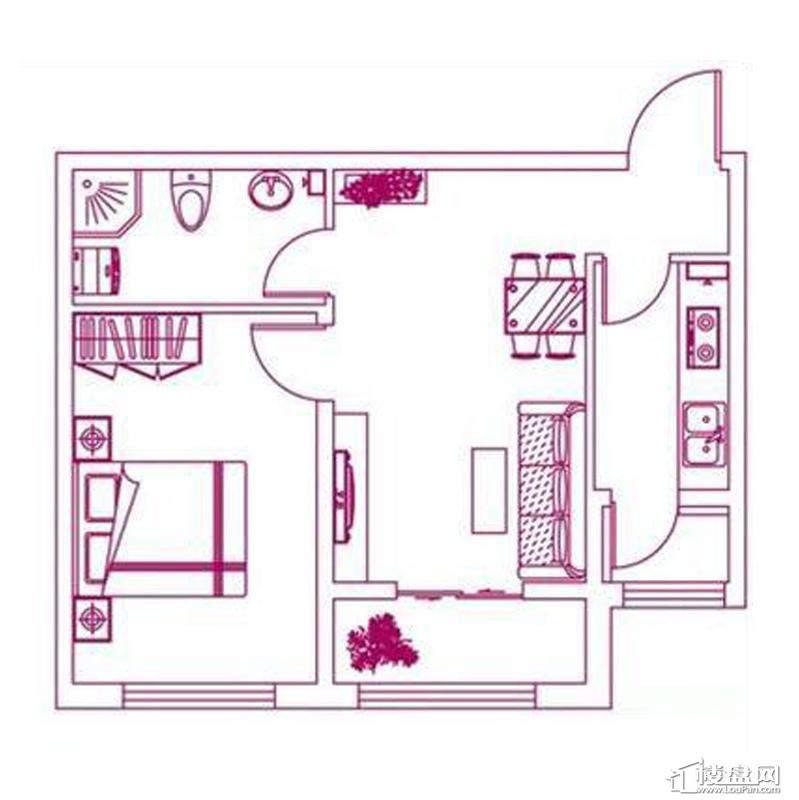 观筑 锦绣华城户型图S-B1户型图1室1厅1卫