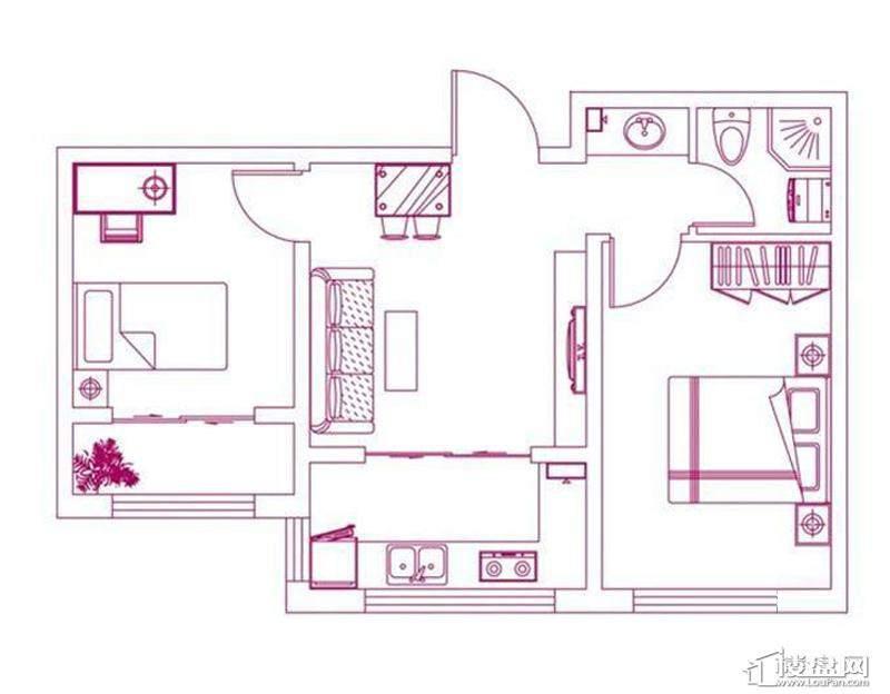 观筑 锦绣华城户型图S-C1a户型图2室2厅1卫1厨