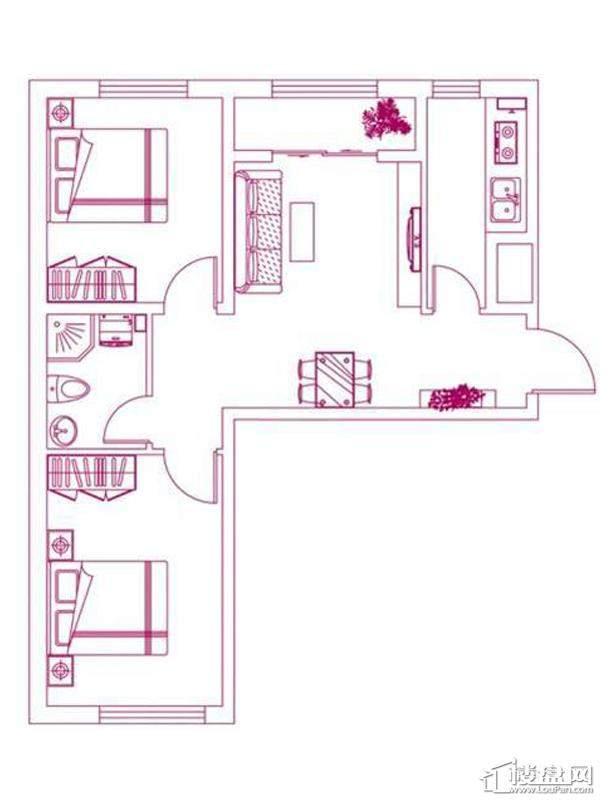 观筑 锦绣华城户型图S-C2户型图2室2厅1卫1厨