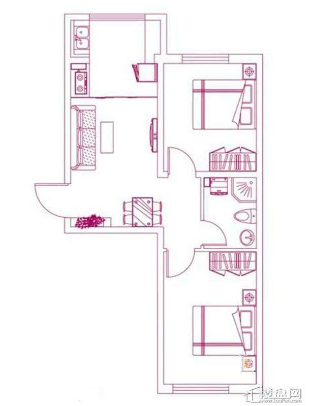 观筑 锦绣华城户型图S-C3户型图2室2厅1卫1厨