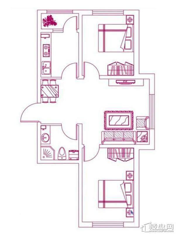 观筑 锦绣华城户型图S-D2户型图2室2厅1卫1厨