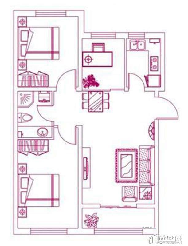 观筑 锦绣华城户型图S-D4户型图2室2厅1卫1厨