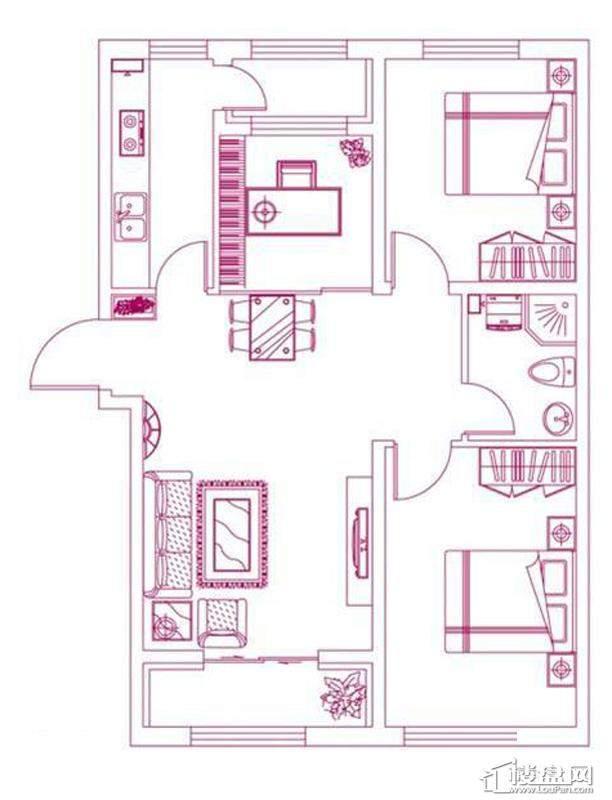 观筑 锦绣华城户型图S-D5户型图2室2厅1卫1厨