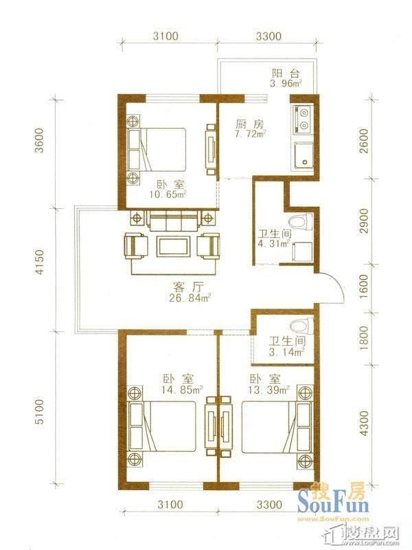 盛世华庭户型图一期超高层5-32层01户型3室1厅2卫1厨