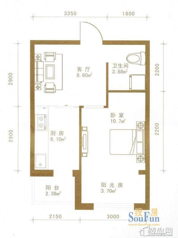 盛世华庭户型图一期超高层5-32层02户型1室1厅1卫1厨
