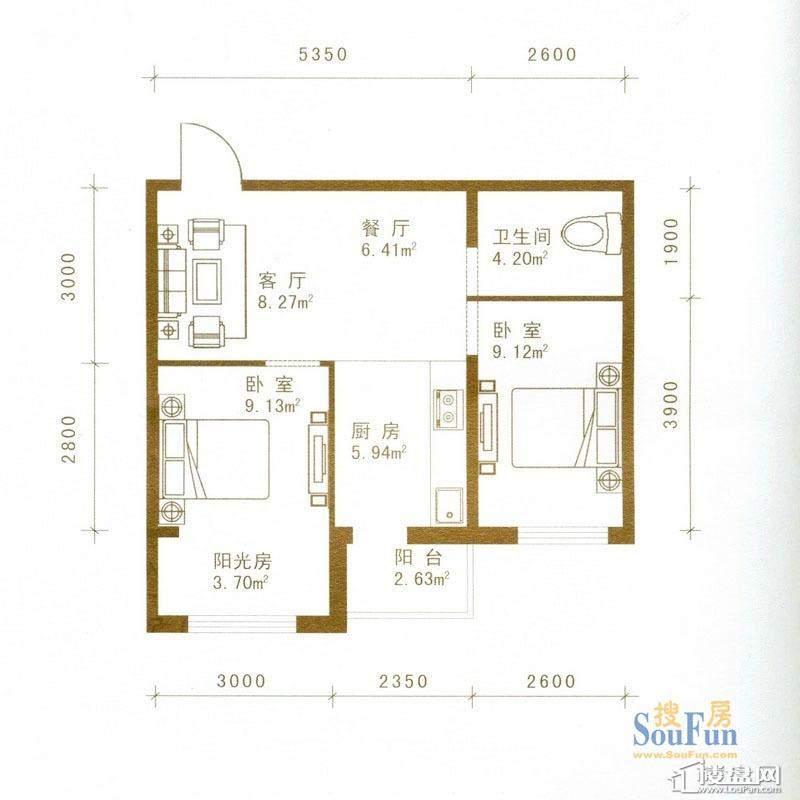 盛世华庭户型图一期超高层5-32层03户型2室1厅1卫1厨