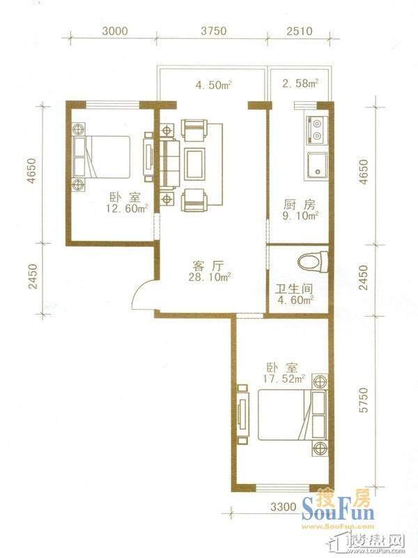 盛世华庭户型图一期超高层5-32层04户型2室1厅1卫1厨