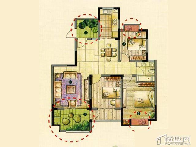 K3室2厅1卫 127.00㎡