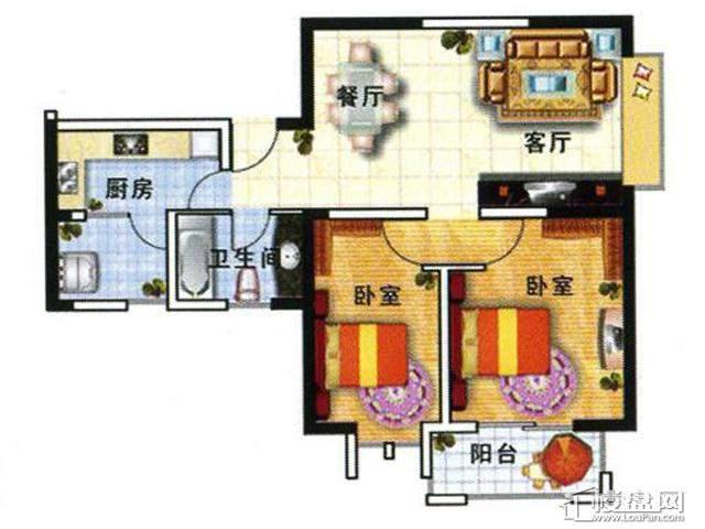 户型三2室2厅1卫 89.00㎡