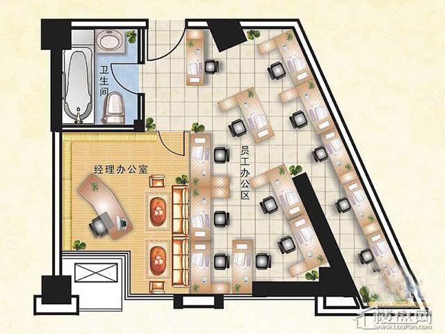 惠丰广场写字楼户型11室1厅1卫 79.36㎡