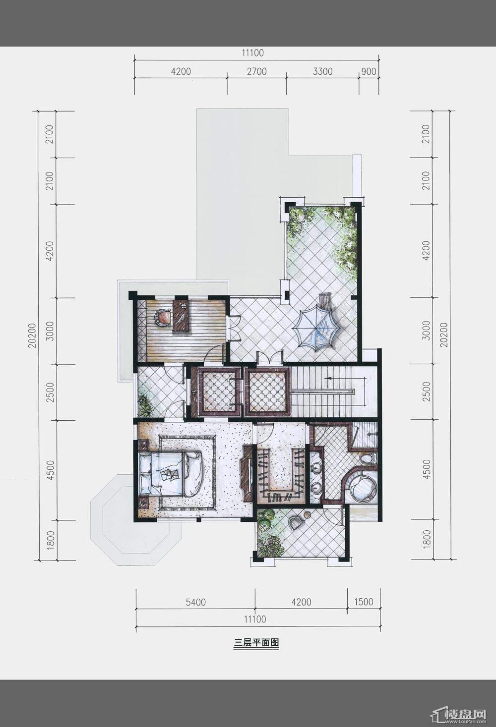 卢浮原著三层平面图户型图