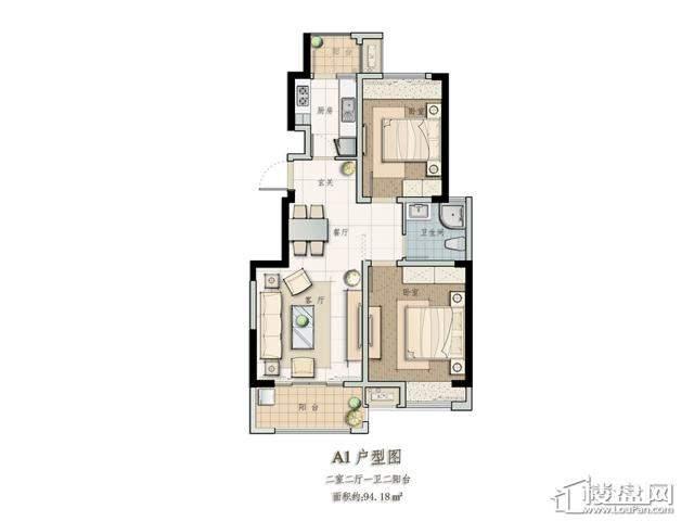 A1户型2室2厅1卫1厨 94.18㎡