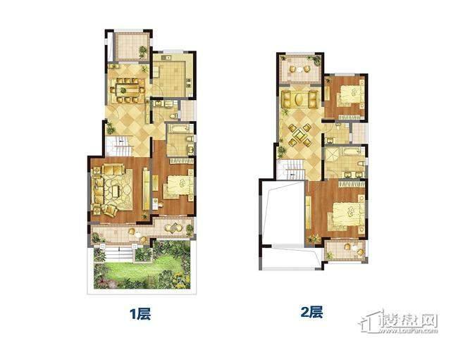 叠加别墅户型图3室2厅2卫 200.00㎡