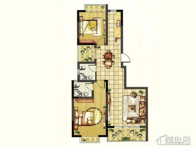 怡然两房2室2厅2卫 98.00㎡