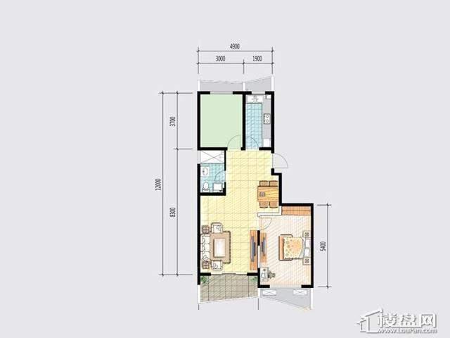 7号楼 F户型2室2厅1卫 87.00㎡