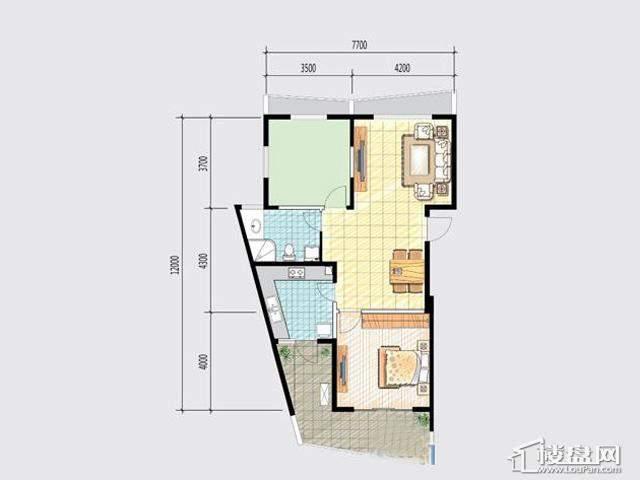 7号楼H-1户型2室2厅1卫 96.00㎡