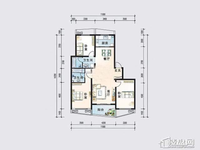 波普洋房B户型3室2厅2卫 127.00㎡