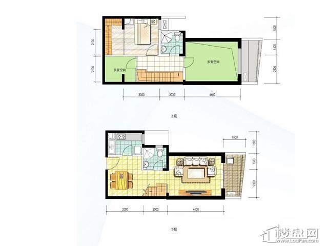 波谱洋房F4户型18号楼1室2厅2卫1厨 78.00㎡