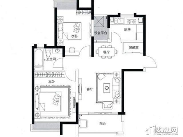蓝庭国际1-A户型2室2厅1卫 87.87㎡