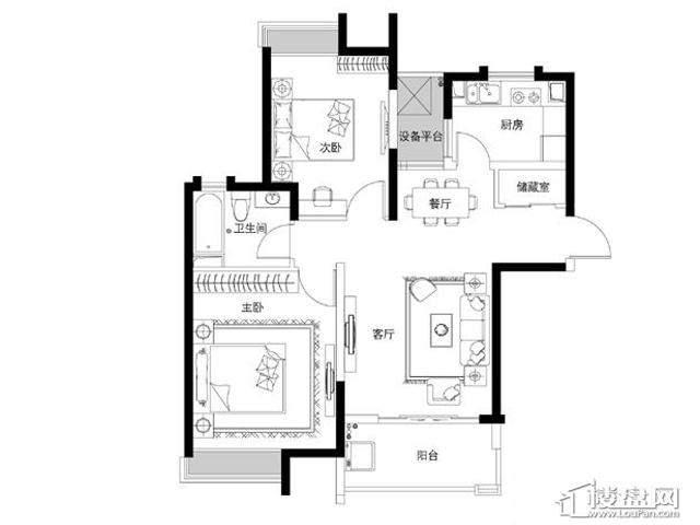 蓝庭国际1号楼1-A2室2厅1卫 87.87㎡