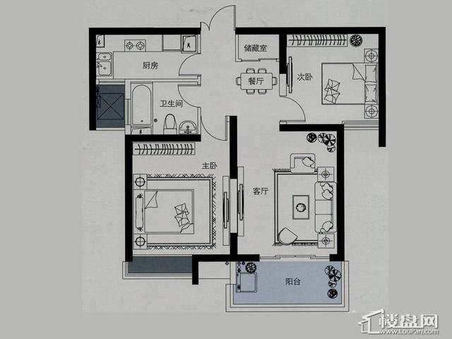 蓝庭国际二期5-B户型2室2厅1卫 90.00㎡
