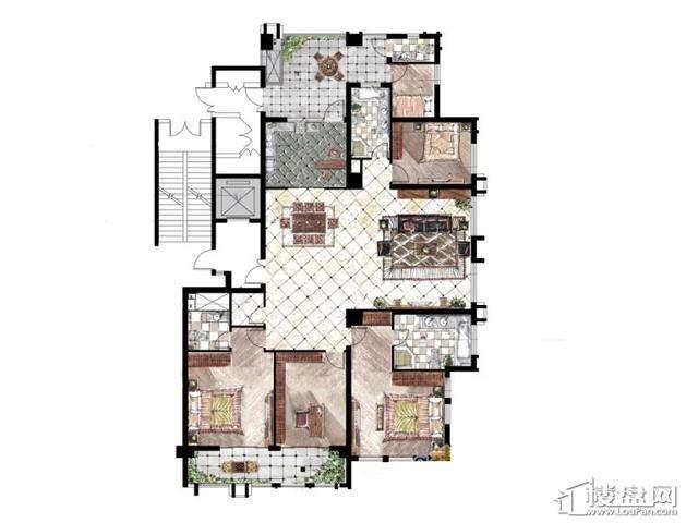 蓝庭国际尚府世家6-B户型 4室3厅3卫 270.00㎡