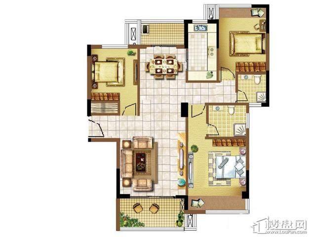 明发国际新城2#楼 E1户型3室2厅2卫1厨 120.00㎡