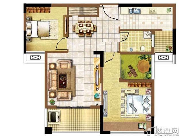 明发国际新城2#楼浪漫特区户型图2室2厅1卫1厨 86.00㎡
