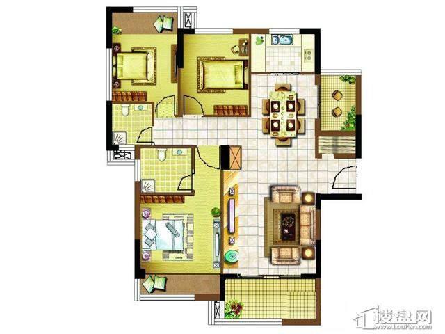 明发国际新城2#楼温馨特区户型图3室2厅2卫1厨 122.00㎡
