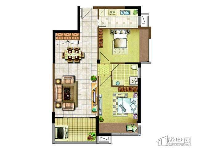 明发国际新城12#楼风尚特区户型图2室1厅1卫1厨 88.00㎡