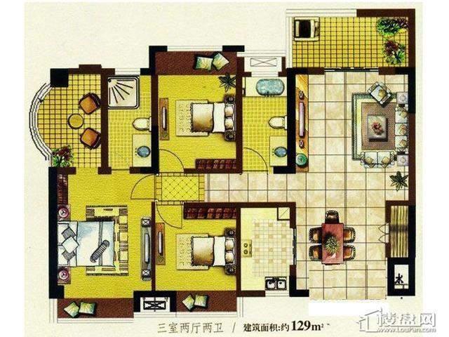 明发国际新城19#咖啡时光户型图3室2厅2卫1厨 129.00㎡