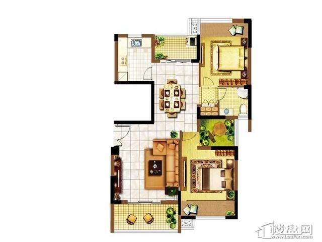 明发国际新城92平米户型图2室2厅1卫 92.00㎡