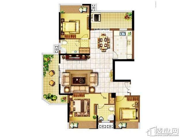明发国际新城135平米户型3室2厅2卫 135.00㎡