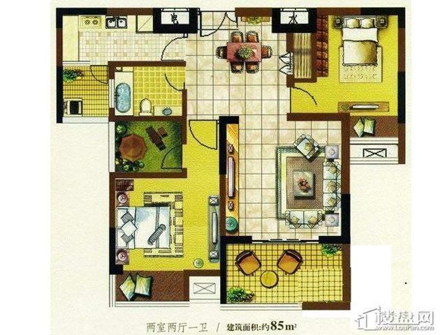 明明发国际新城7080特区户型图2室2厅1卫1厨 85.00㎡