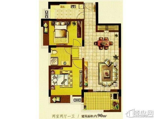 明发国际新城7080特区户型图2室2厅1卫1厨 90.00㎡