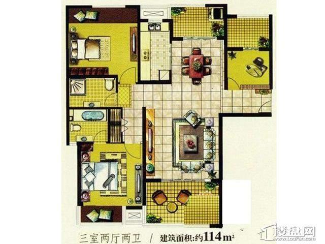 明发国际新城7080特区户型图3室2厅2卫1厨 114.00㎡