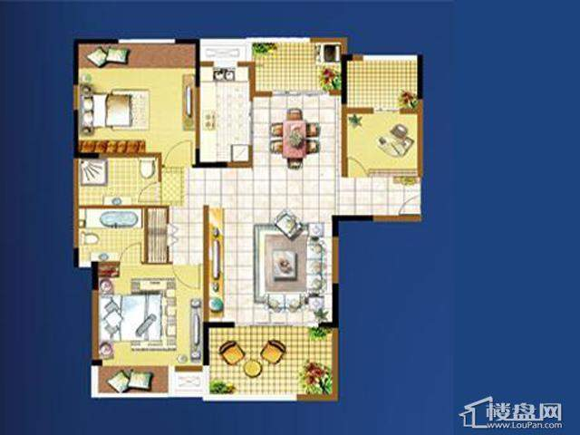 明发国际新城时尚唯美户型3室2厅2卫 110.00㎡