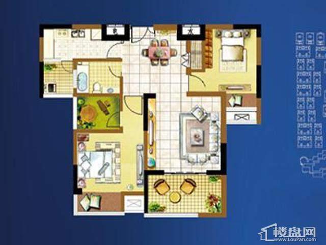 明发国际新城秀雅栖居户型2室2厅1卫 82.00㎡