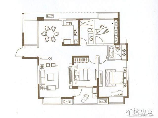 山水湖滨花园二期A1-02品湖官邸3室2厅2卫 116.00㎡