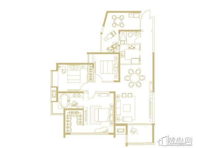 山水湖滨花园二期A户型3室2厅2卫 145.33㎡