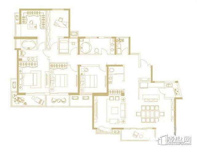 山水湖滨花园二期BC户型3室2厅3卫1厨 230.66㎡