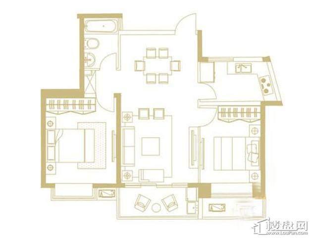 山水湖滨花园二期B户型2室2厅1卫1厨 88.86㎡
