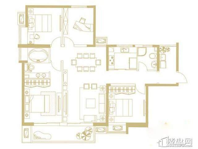 山水湖滨花园二期C户型4室2厅2卫1厨 141.80㎡