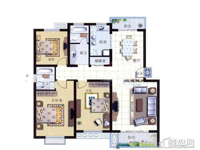 天奇盛世豪庭D63室2厅2卫 134.00㎡