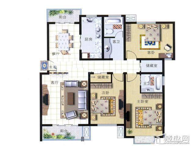 天奇盛世豪庭D73室2厅2卫 141.00㎡