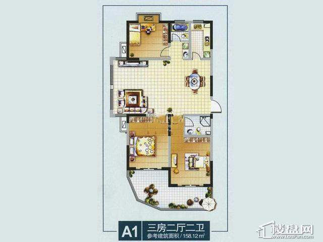 奥林花园奥林小户型宫寓MINI风情A13室2厅2卫 158.12㎡