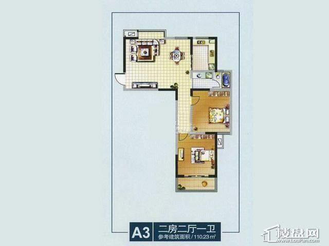 奥林花园奥林小户型宫寓MINI风情A32室2厅1卫 110.23㎡
