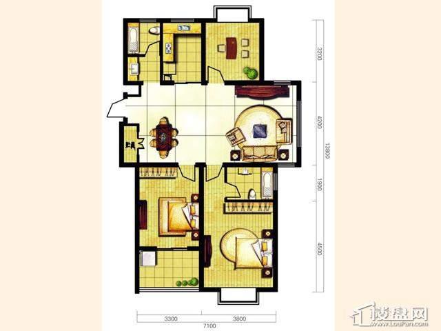 奥林花园三期B1樂朗户型3室2厅2卫 118.23㎡