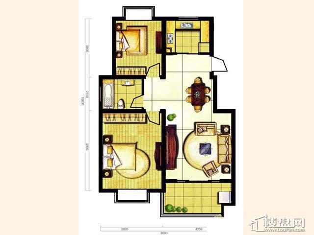 奥林花园三期B2茗朗户型2室2厅1卫 89.16㎡